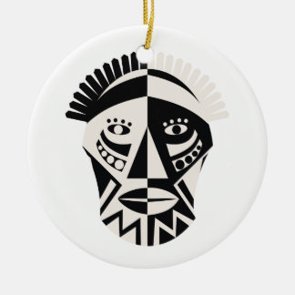 African mask primitive folk art round ceramic ornament