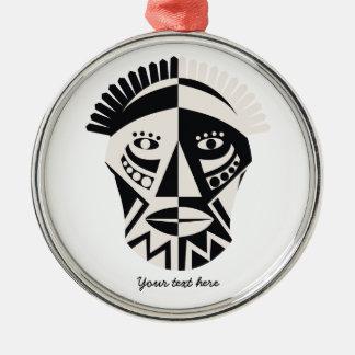 African mask primitive folk art Silver-Colored round ornament