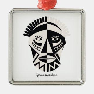 African mask primitive folk art Silver-Colored square ornament