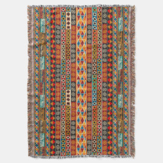 African Motif Colorful Decorative Pattern Design Throw Blanket