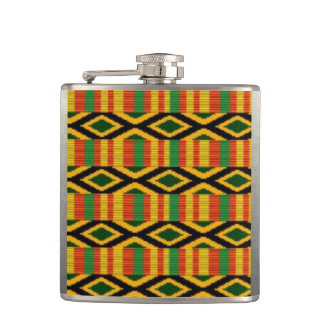 African Multi Color Pattern Print Design Hip Flask