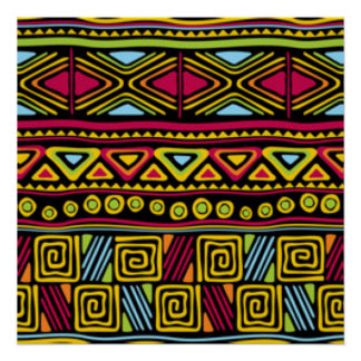 African Multi Color Pattern Print Design Perfect Poster