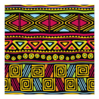 African Multi Color Pattern Print Design Photo Print