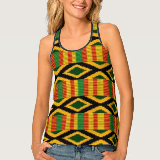 African Multi Color Pattern Print Design Tank Top