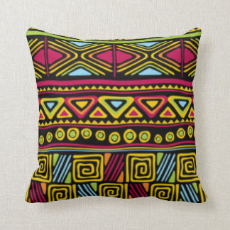 African Multi Color Pattern Print Design Throw Pillow
