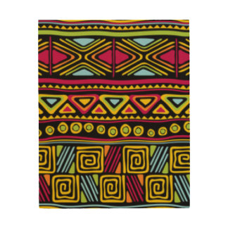 African Multi Color Pattern Print Design Wood Canvases