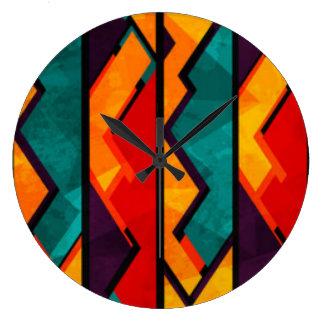 African Multi Colored Pattern Print Design Clocks