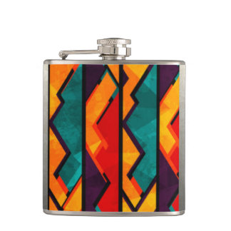 African Multi Colored Pattern Print Design Hip Flask