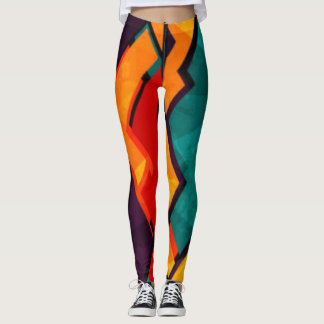 African Multi Colored Pattern Print Design Leggings