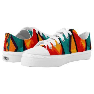African Multi Colored Pattern Print Design Low-Top Sneakers