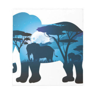 African Night with Elephant 6 Notepad