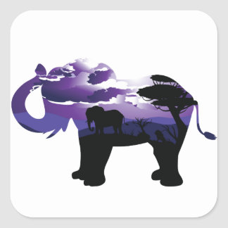 African Night with Elephant Square Sticker