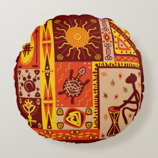 African Pattern 2 Round Pillow