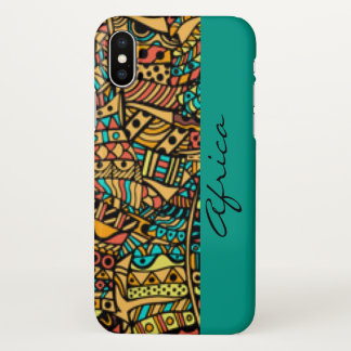 African Pattern Print Design Typography iPhone X Case