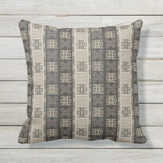 african pattern with Adinkra simbols Outdoor Pillow