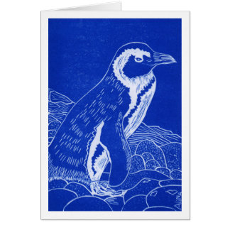 African Penguin Blue Linocut Greeting Card