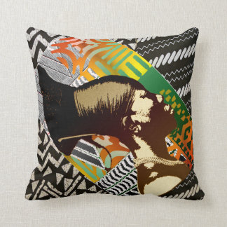 African Pop Art Throw Pillow