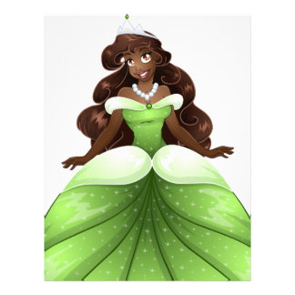 African Princess In Green Dress Letterhead