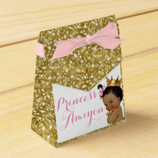 African Princess Royal Gold Glitter Party Favors Favor Box