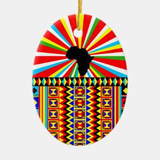 African Print Kente Cloth Tribal Pattern Ankara Ceramic Ornament