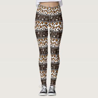 African print with cheetah skin pattern leggings