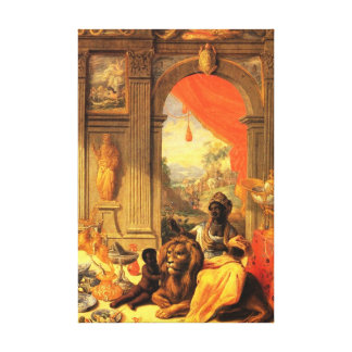 African Queen and Son with Lion in Palace Canvas Print