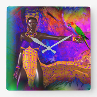 African Queen Square Wall Clock
