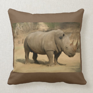 African Rhino Throw Pillow