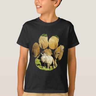 African Rhinoceros Footprint 1 T-Shirt