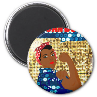 african rosie the riveter 2 inch round magnet