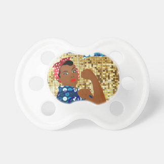 african rosie the riveter baby pacifiers