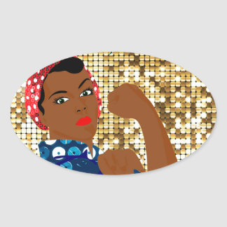 african rosie the riveter oval sticker