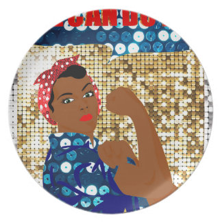 african rosie the riveter plate