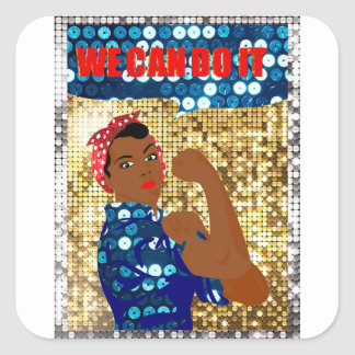 african rosie the riveter square sticker