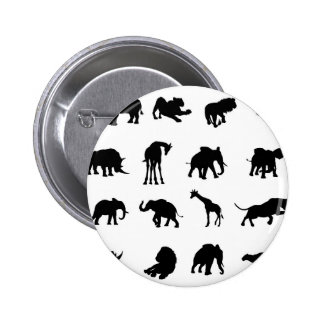 African Safari Animals Silhouettes 2 Inch Round Button