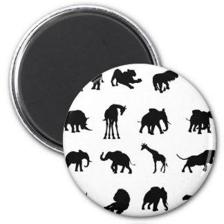 African Safari Animals Silhouettes 2 Inch Round Magnet