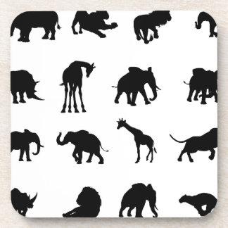 African Safari Animals Silhouettes Beverage Coasters