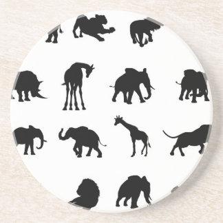 African Safari Animals Silhouettes Drink Coasters