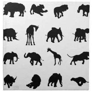 African Safari Animals Silhouettes Napkin