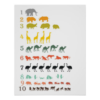 African Safari Counting Poster