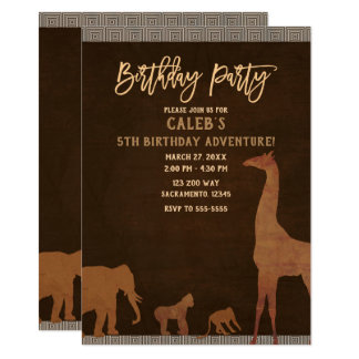 African Safari Jungle Zoo Brown Birthday Party Card