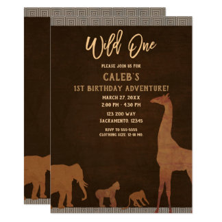 African Safari Jungle Zoo Brown WILD ONE 1st Party Card