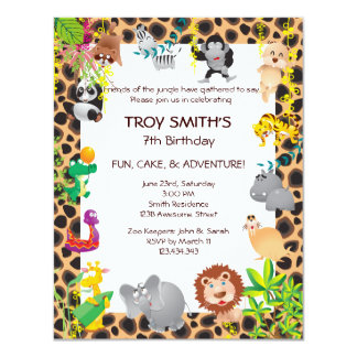 African Safari Kid's Birthday Party Invitation