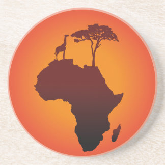 African Safari Map - Sandstone Coaster