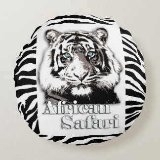 African safari round throw pillow. round pillow