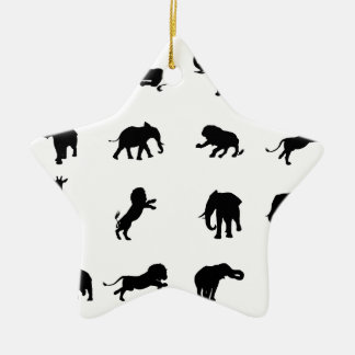 African Safari Silhouette Animal Ceramic Ornament