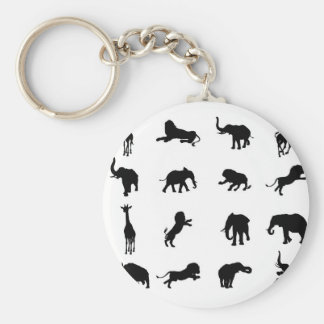 African Safari Silhouette Animal Keychain