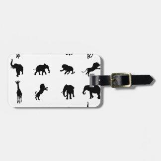 African Safari Silhouette Animal Luggage Tag