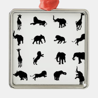 African Safari Silhouette Animal Metal Ornament