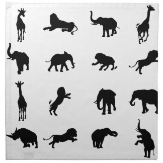 African Safari Silhouette Animal Napkin